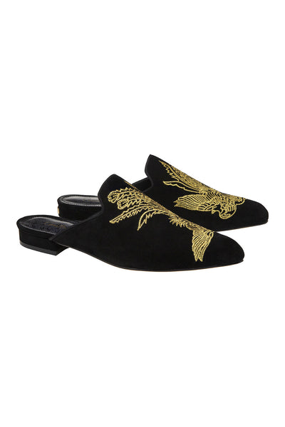 CAMILLA BLACK POINTED TOE SLIPPER