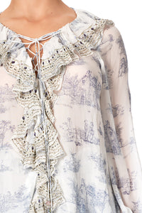 LACE UP RUFFLE BLOUSE SOUTHERN BELLE