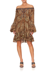 BLOUSON SLEEVE A LINE FRILL DRESS LADY LODGE