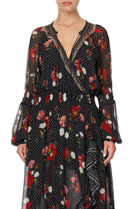 BLOUSON SLEEVE WRAP DRESS COASTAL PARISIENNE