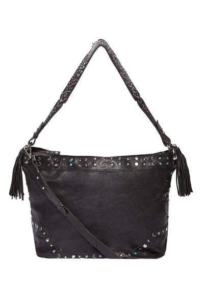 LEATHER HOBO BLACK