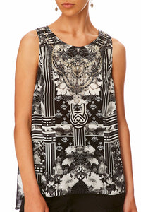 CAMILLA WILD MOONCHILD BUTTON BACK TOP