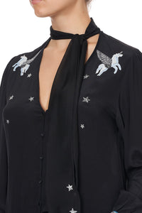 BUTTON DOWN BLOUSE WITH NECK TIE ASTRO DISCO