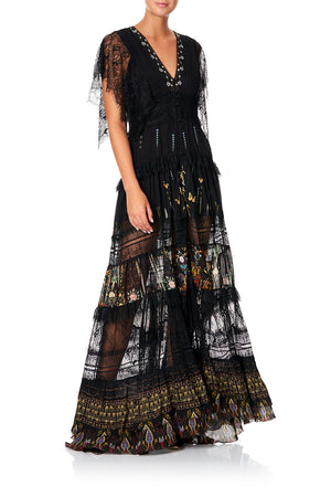 65ac06d5a04 BUTTON UP DRESS WITH LACE INSERT REBELLE REBELLE (XS)