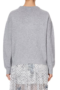 CREW NECK BOXY KNIT WITH HIGH LOW HEM MOONLIT MUSINGS
