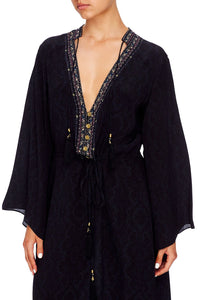 DRAWSTRING BUTTON UP DRESS MIDNIGHT MEETING