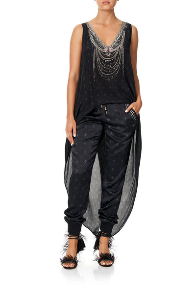 CAMILLA DRAWSTRING PANT WITH RIBBING BLACK