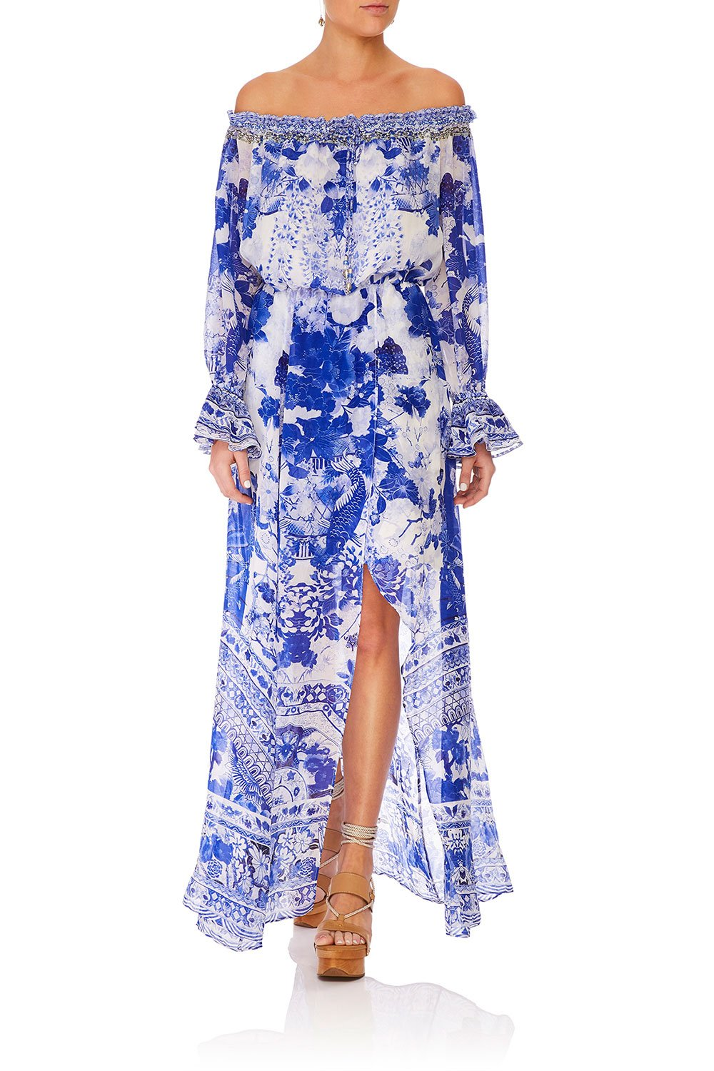 CAMILLA DROP SHOULDER SPLIT DRESS THE FAN SEA