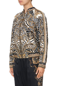 EMBELLISHED ENCASED ELASTIC RAGLAN BOMBER NIGHT WAITING FOR DAY