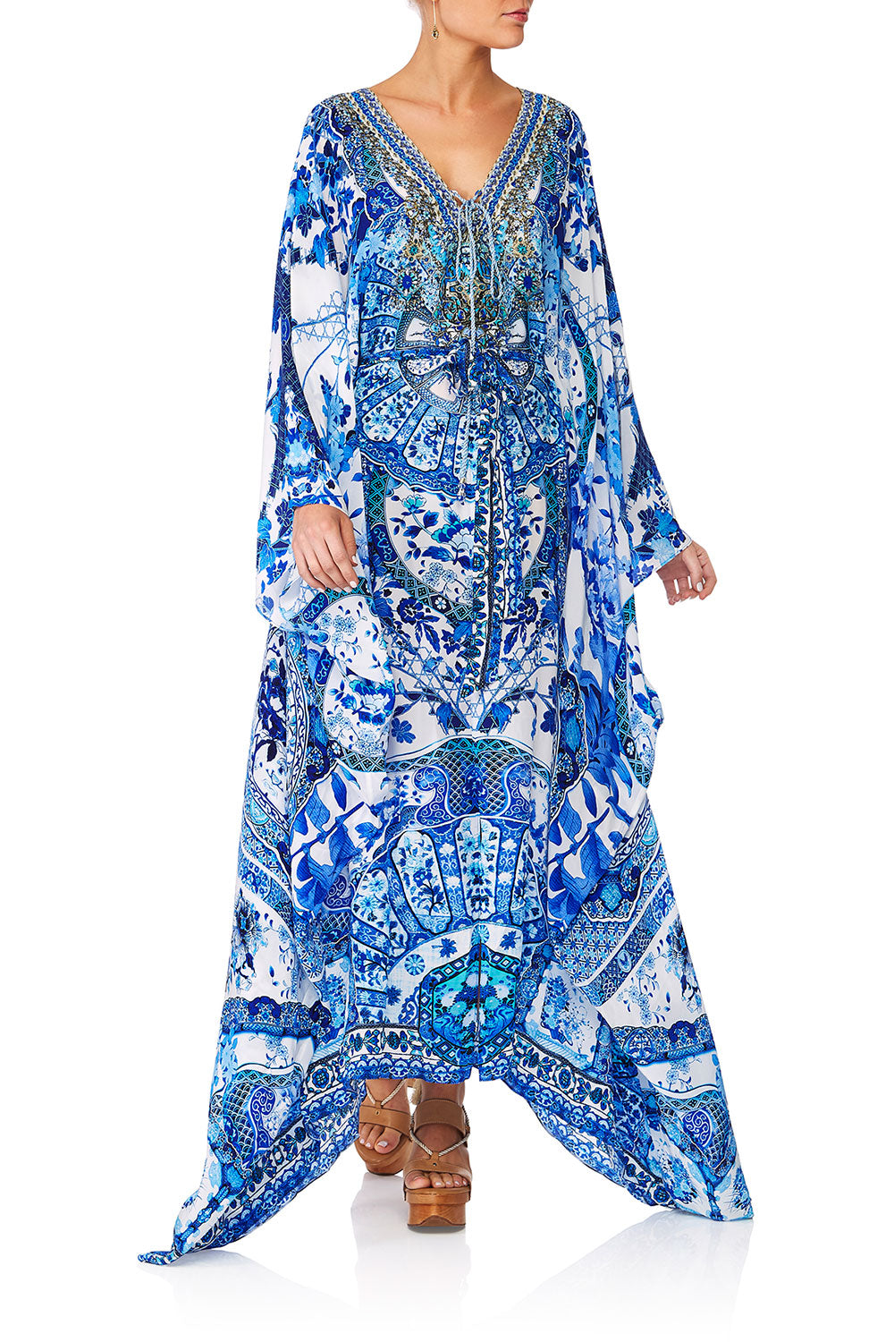 CAMILLA ETERNITYS EMPIRE SPLIT HEM LACE UP KAFTAN