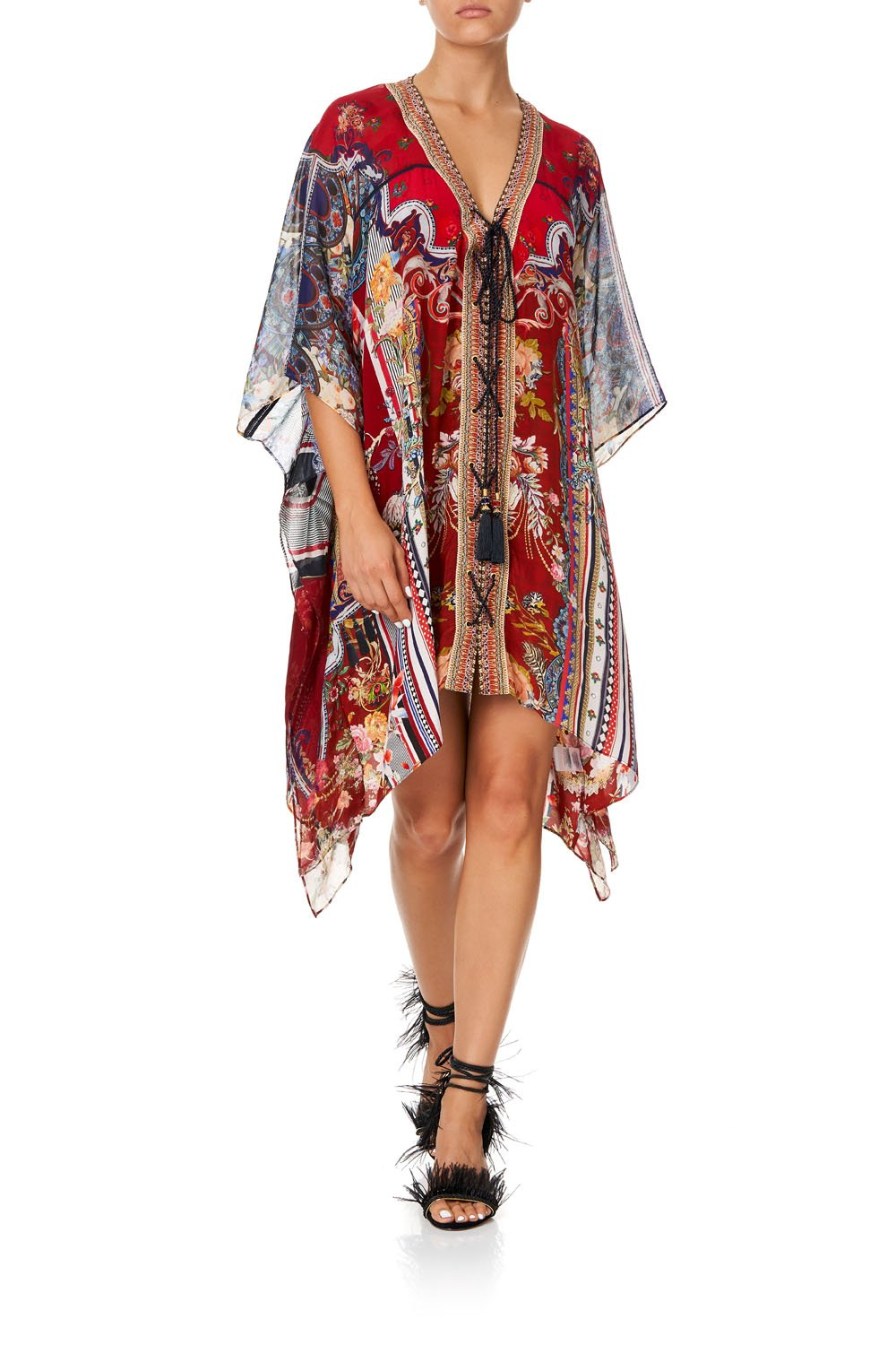 LACE UP KAFTAN WITH INSERT TRIM COSTUME PARTY