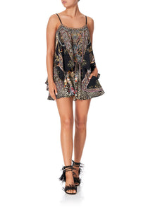 FLARED PLAYSUIT WITH OVERLAYER MARAIS AT MIDNIGHT - L