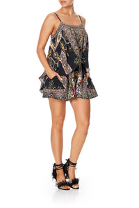 CAMILLA FLARED PLAYSUIT WITH OVERLAYER MARAIS AT MIDNIGHT