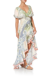 FRILL SLEEVE LONG DRESS BEACH SHACK