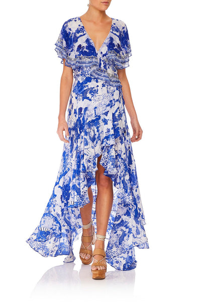 CAMILLA FRILL SLEEVE LONG DRESS THE FAN SEA
