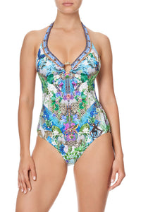 HALTER ONE PIECE WITH TRIM MOON GARDEN