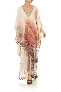 HIGH LOW HEM V NECK KAFTAN COASTAL TREASURE
