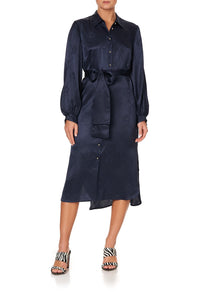HIGH LOW MIDI SHIRT DRESS SOLID NAVY