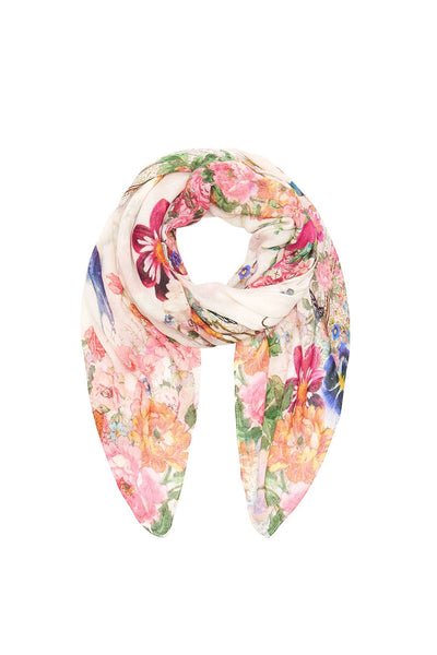 ROLLED HEM SCARF JARDIN POSTCARDS