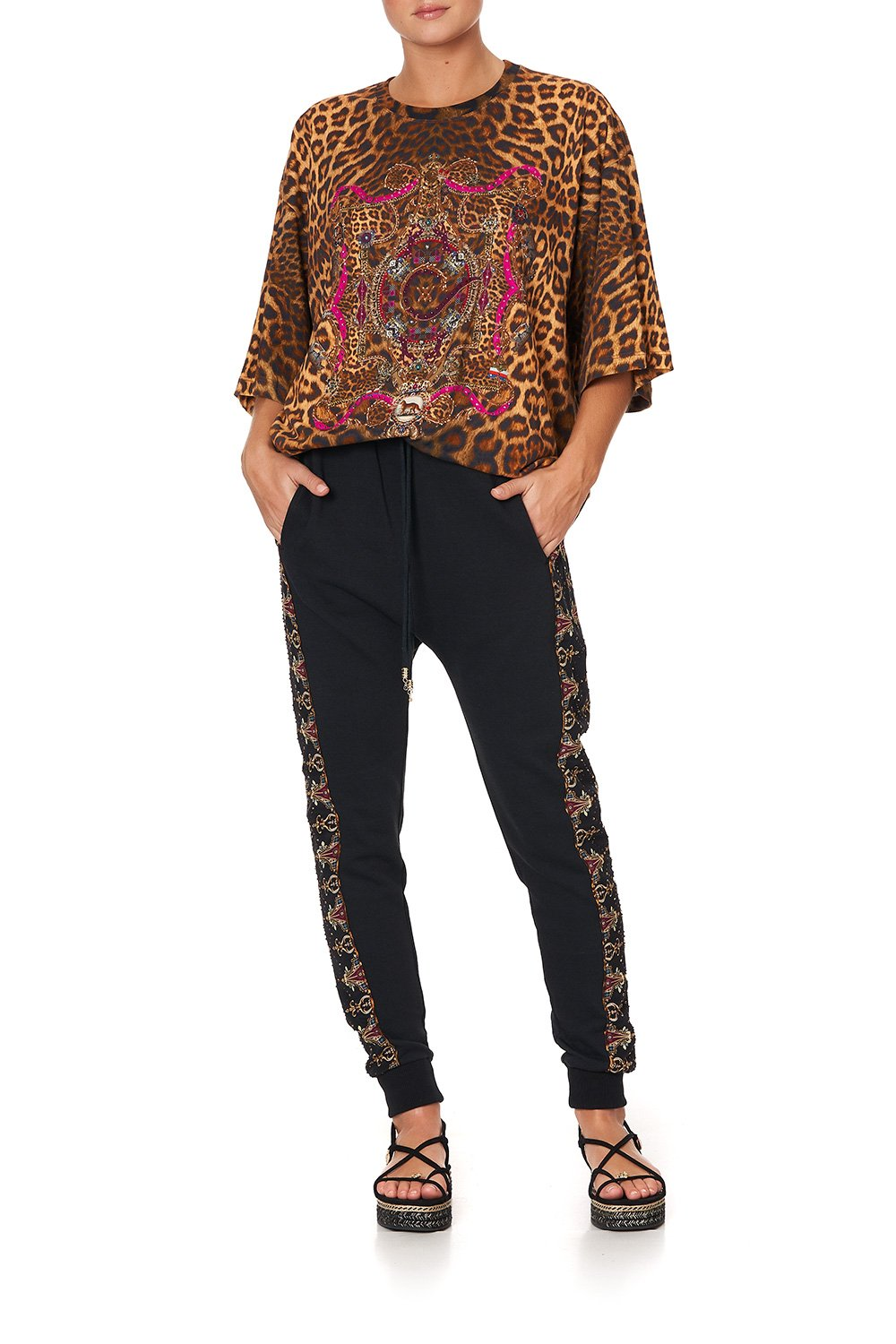 JERSEY AND SILK MIX DROP CROTCH PANT LADY LODGE