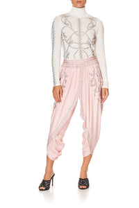 GATHERED WRAP FRONT TROUSER LUXE PINK