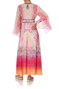 KIMONO SLEEVE DRESS WITH SHIRRING DETAIL SERPENTINE DREAMS