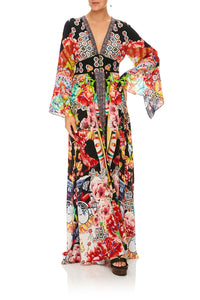 CAMILLA PAINTED LAND KIMONO SLEEVE DRESS W/ SHIRRING DETAIL