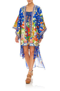 CAMILLA KIMONO W/ LONG UNDER LAYER PLAYING KOI