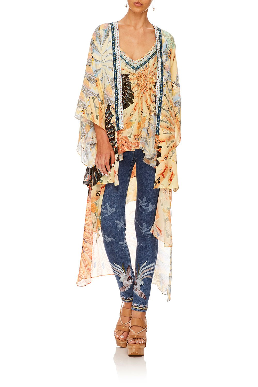 CAMILLA FOR THE FANS KIMONO W LONG UNDERLAY
