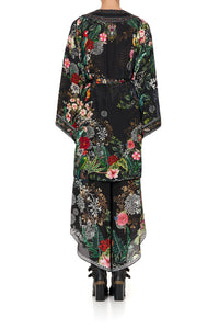 KIMONO WITH TIE BELT RAISED WITH WOLVES