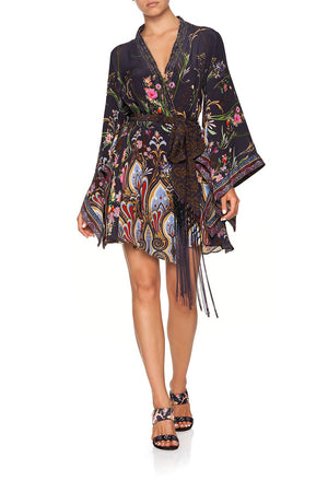 35aafca018 KIMONO WRAP DRESS WITH OBI BELT WILD FLOWER (XS)