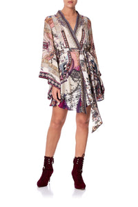 KIMONO WRAP DRESS WITH OBI VIOLET CITY