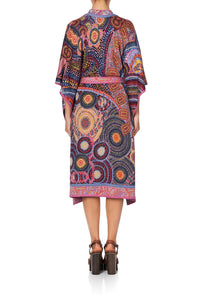 KNIT JACQUARD PONCHO WITH TIE WARLU DREAMING