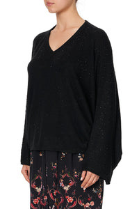 KNIT V NECK JUMPER WITH DOLMAN SLEEVE A GIRL LIKE YOU