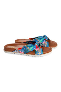 KNOTTED FOOTBED SLIDE FARAWAY FLORALS