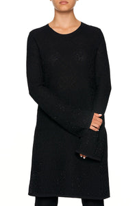LACE KNIT TUNIC BLACK