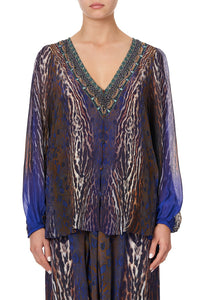 LACE UP SIDE BLOUSE KOMODO QUEEN