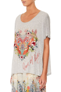 CAMILLA GREY LOOSE FIT ROUND NECK TEE
