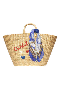 LARGE SEAGRASS BASKET PARIS EMBROIDERY