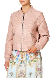 CAMILLA LEATHER BOMBER JACKET VERSAILLES SKY