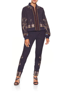 LEATHER BOMBER JACKET WILD FLOWER