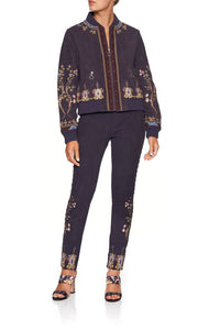 CAMILLA LEATHER BOMBER JACKET WILD FLOWER