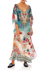 CAMILLA HER HEIRLOOM LONG V NECK KAFTAN