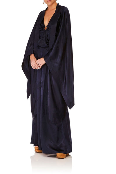 CAMILLA SOLID NAVY LONG DRAPED ROBE