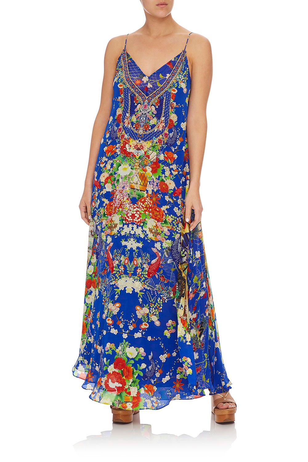 CAMILLA LONG DRESS W/ SHEER UNDERLAY PLAYING KOI