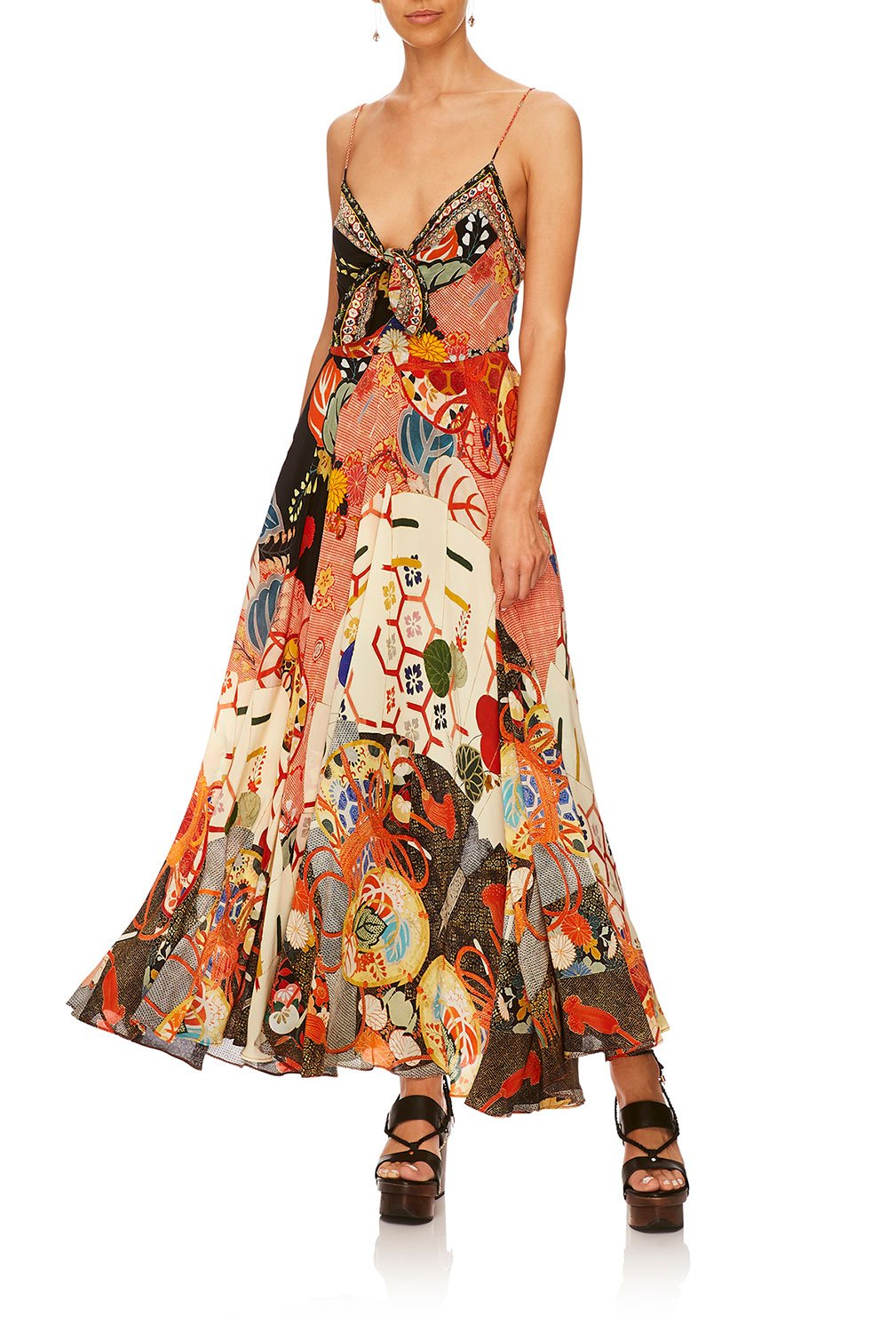 KISSING THE SUN LONG DRESS W TIE FRONT