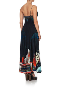 LONG DRESS WITH TIE FRONT NIGHT FLIGHT