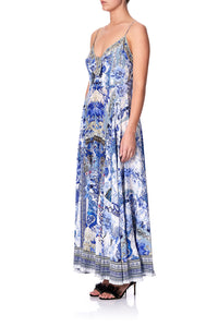 LONG DRESS WITH TIE FRONT PAINTED PROVINCIAL