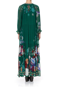 LONG GATHERED PANEL DRESS EMERALD'S ORBIT