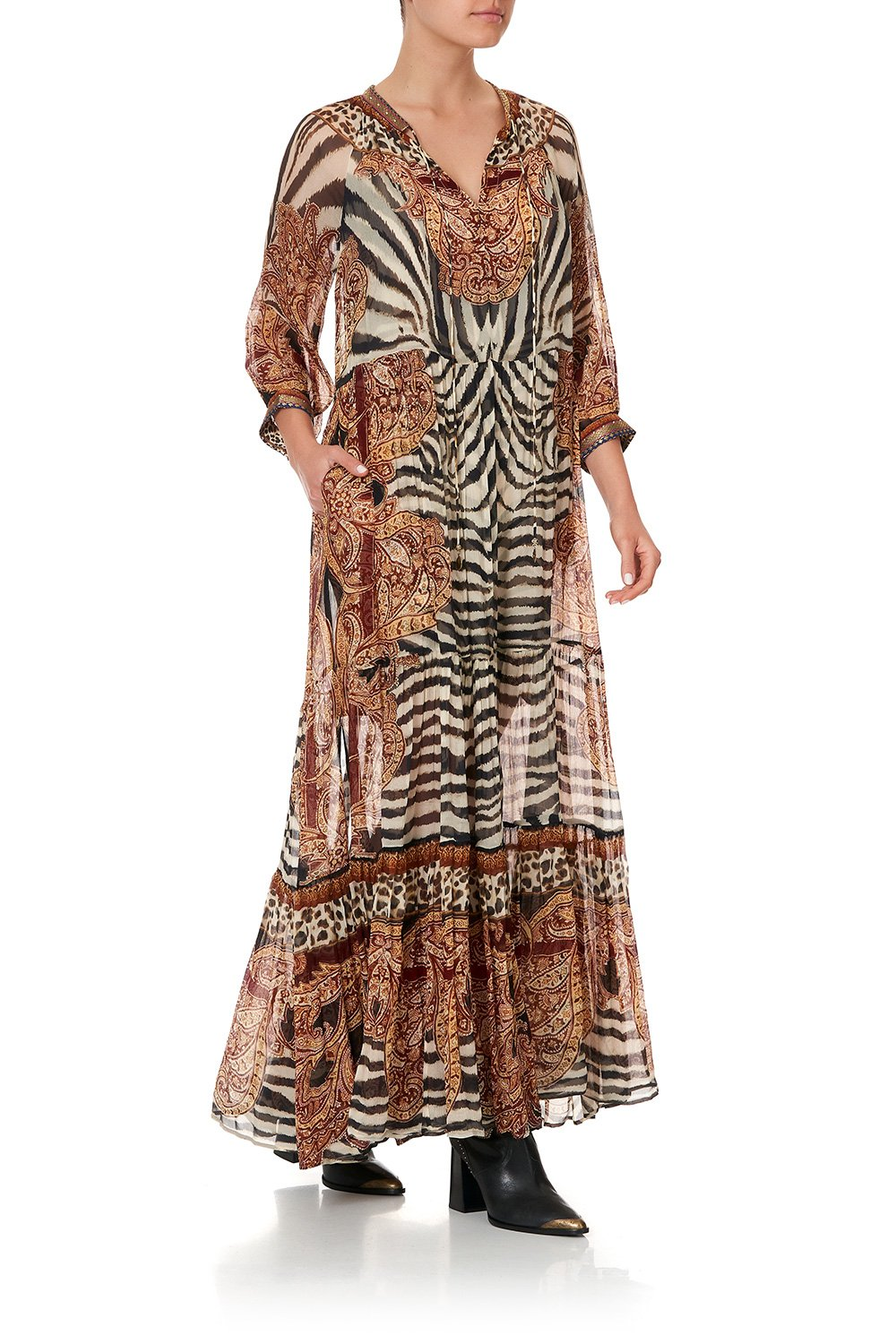 LONG GATHERED PANEL DRESS WILD FIRE